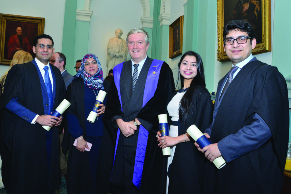 RCPI Membership Conferring Ceremony  Pro President Dr Diarmuid O'Shea with Dr. Hammad Danish, Dr. Faiza Al Darmaki, Dr. Hira Mumtaz, Dr Amjad Hussain, who received their Membership of the College.