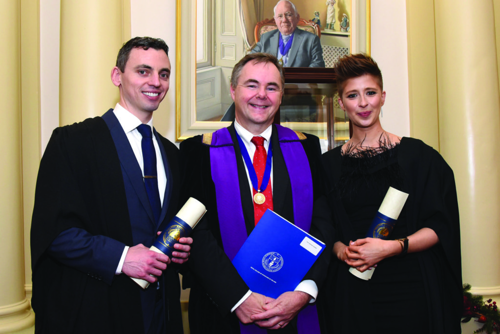 RCPI Membership Conferring Ceremony  Dr James Halpin, Prof Richard Costello Vice President RCPI, Dr Lorraine Murray.
