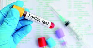 Test tube with blood sample for ferritin test