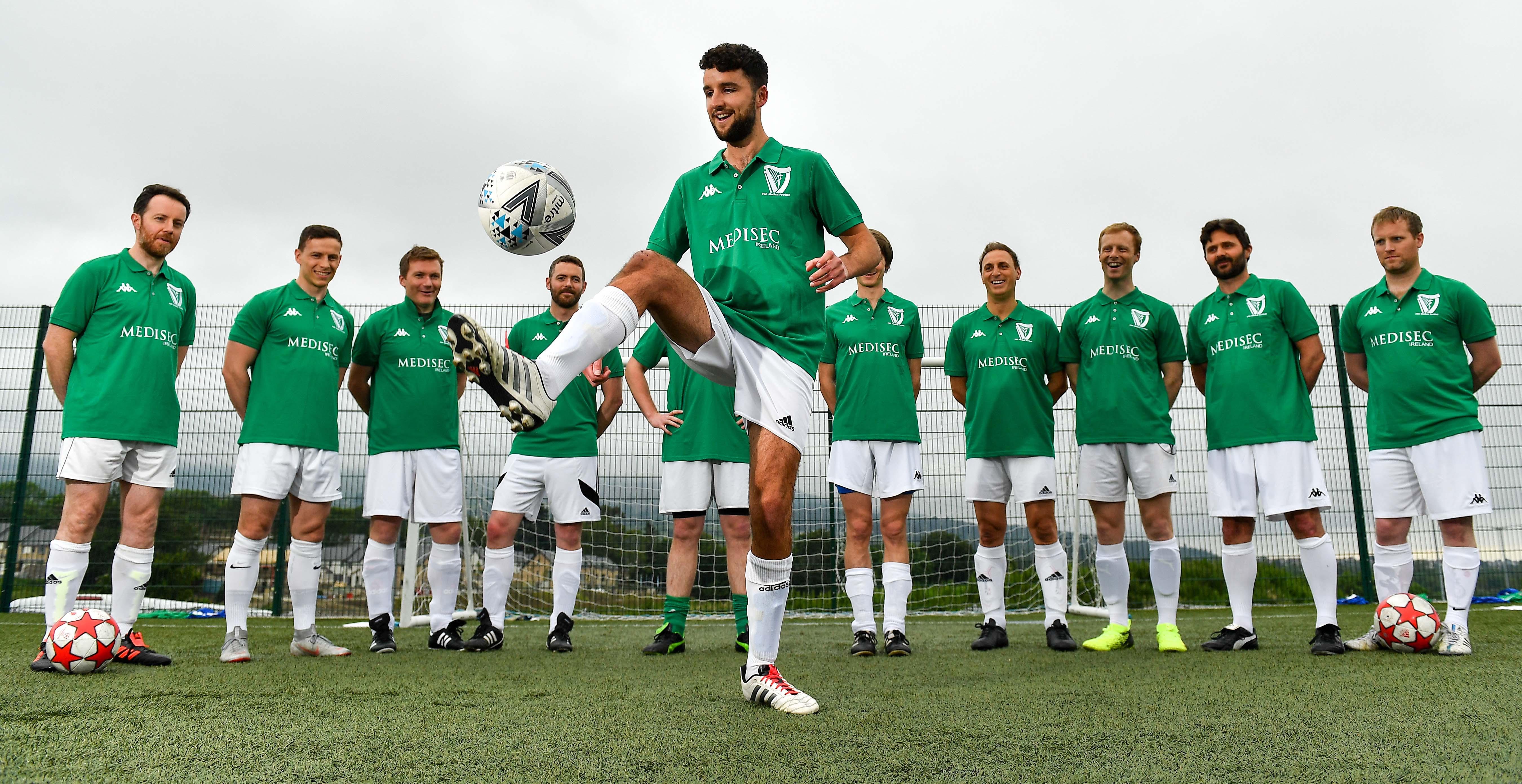 24 June 2019; The launch of the Irish Medical Football Kit at Wayside Celtic in Kiltiernan, Co. Dublin. Photo by Brendan Moran/Sportsfile *** NO REPRODUCTION FEE ***