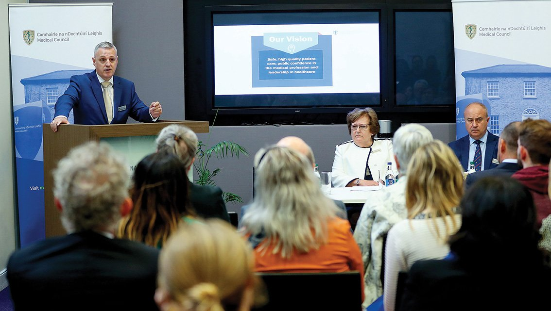 04/09/2019 NO REPRO FEE, MAXWELLS DUBLIN Pictured speaking at the launch of the Medical Council's Statement of Strategy 2019 – 2023 is Mr Paul Harkin, Chair of the Strategy and Governance Committee of the Medical Council, with Dr Rita Doyle, President, Medical Council and Mr Bill Prasifka, CEO, Medical Council. This new strategy sets out the Council's Vision, Mission, Values and strategic objectives for the next five years, focussing on the Council's role in protecting patients and supporting doctors while also placing a renewed focus on their contribution to national policy. Contact Alan Gallagher alan.gallagher@mcirl.ie/087 3615253. PIC: NO FEE, MAXWELLPHOTOGRAPHY.IE