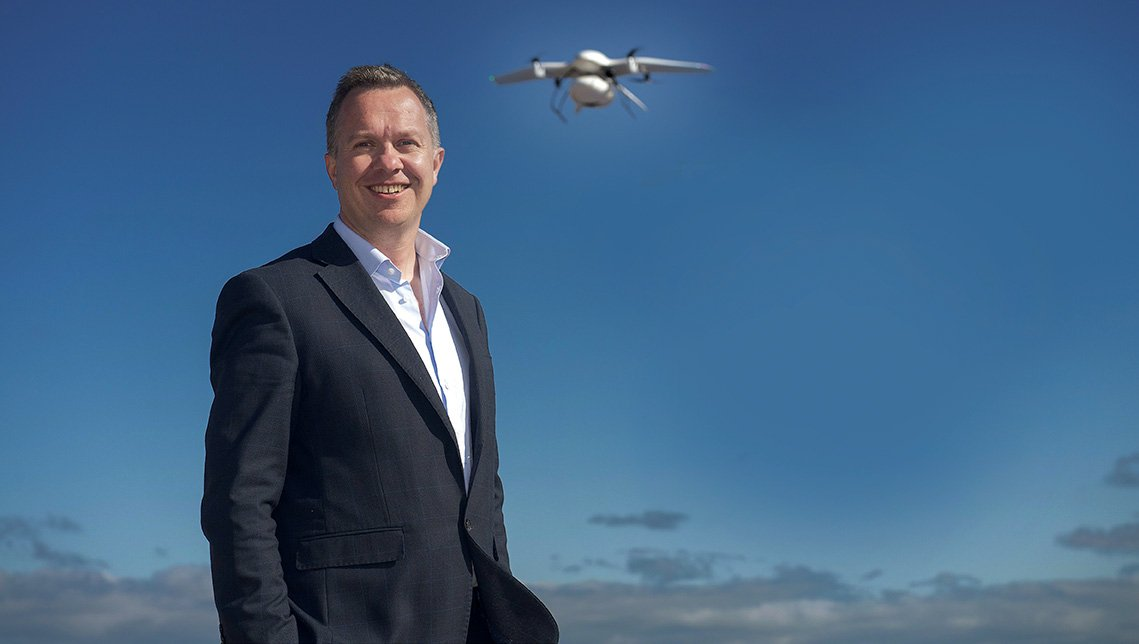 13/09/2019 repro free:  Professor Derek OíKeefe, NUI Galway and the worldís first diabetes drone. The drone completed the first fully autonomous, beyond visible line of sight drone delivery of insulin, connected by Vodafone IoT, from Connemara to Inishmore in the Aran Islands. The diabetes drone was given special research permission from the Irish Aviation Authority to show the possibility of future deliveries of this kind within planned drone corridors. Photo:Andrew Downes, xposure