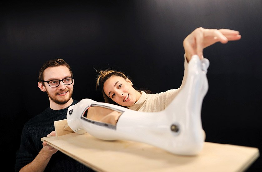 31/10/19. NO FEE. NO REPRO FEE. JULIEN BEHAL PHOTOGRAPHY. To mark an agreement of collaboration between NCAD and RCSI, NCAD students Joe O'Connor and June Galbarriartu are pictured at RCSI with a prototype of a leg used for surgery simulation.  JULIEN BEHAL PHOTOGRAPHY. NO FEE.
