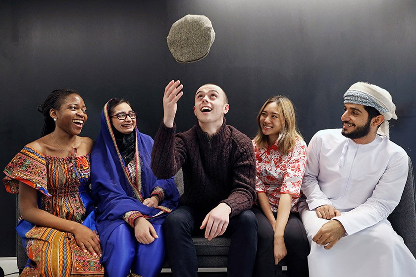 16/11/19. NO FEE. NO REPRO FEE. JULIEN BEHAL PHOTOGRAPHY.  Pictured l-r, are RCSI medical students  Oluwakorede Adekoje; Fatma Taqi; Cathal Ó Tuil; Zinwen Justine Chan and Almahanad Aljulandani celebrating International Students' Day.  JULIEN BEHAL PHOTOGRAPHY. NO FEE.