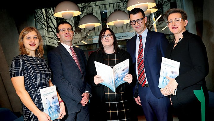 12/02/2020 NO REPRO FEE, MAXWELLS DUBLIN NOCA Annual Conference 2020  Pic shows ( l to r ) Olga Byrch, Data Analyst, NOCA, Dr. Brian Creedon, Clinical Director, NOCA, Louise Brent, MTA Audit Manager, NOCA, Dr Conor Deasy, MTA Clinical Lead, NOCA and Collette Tully, Executive Director, NOCA at RCSI, for the Major Trauma Audit - National Report 2018 at the NOCA Annual Conference 2020. PIC: NO FEE, MAXWELLPHOTOGRAPHY.IE