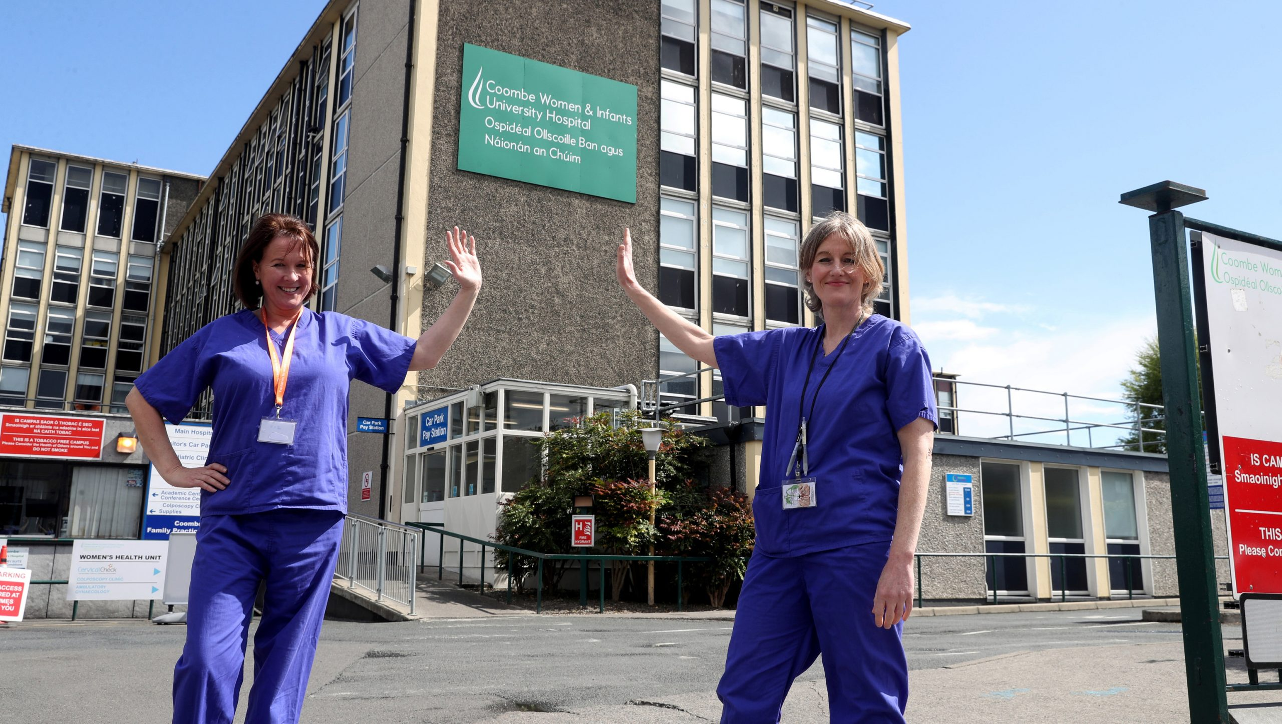 Repro Free Monday 4th May 2020: Recognising our Midwives: The Coombe Women & Infants University Hospital marks International Day of the Midwife, a global day of recognition and celebration of the work of midwives. Pictured were Midwives Denise Kiernan and Megan Sheppard. Picture Jason Clarke